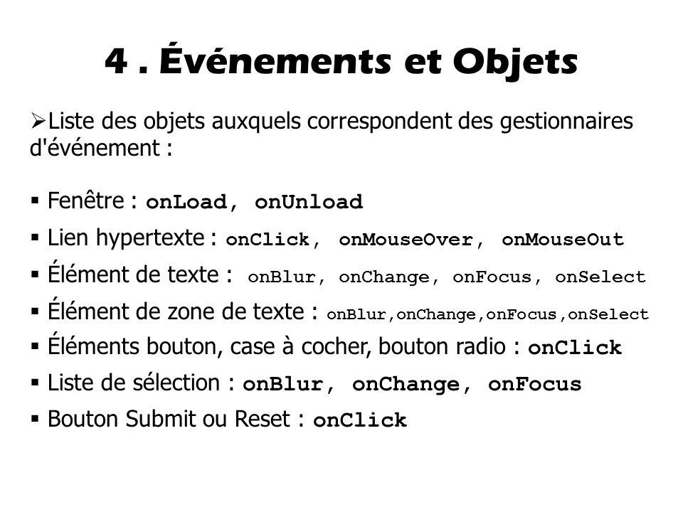  Liste des objets auxquels correspondent des gestionnaires d événement :  Fenêtre : onLoad, onUnload  Lien hypertexte : onClick, onMouseOver, onMouseOut  Élément de texte : onBlur, onChange, onFocus, onSelect  Élément de zone de texte : onBlur,onChange,onFocus,onSelect  Éléments bouton, case à cocher, bouton radio : onClick  Liste de sélection : onBlur, onChange, onFocus  Bouton Submit ou Reset : onClick 4.