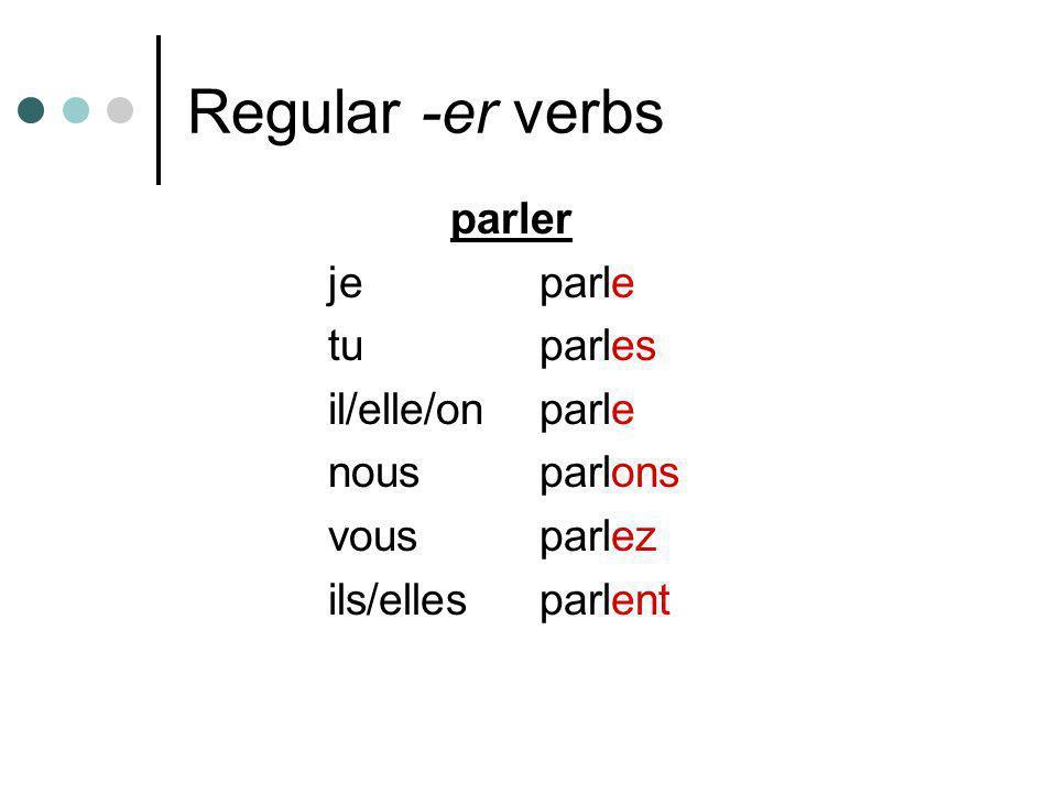 Regular -er verbs parler jeparle tuparles il/elle/onparle nousparlons vousparlez ils/ellesparlent