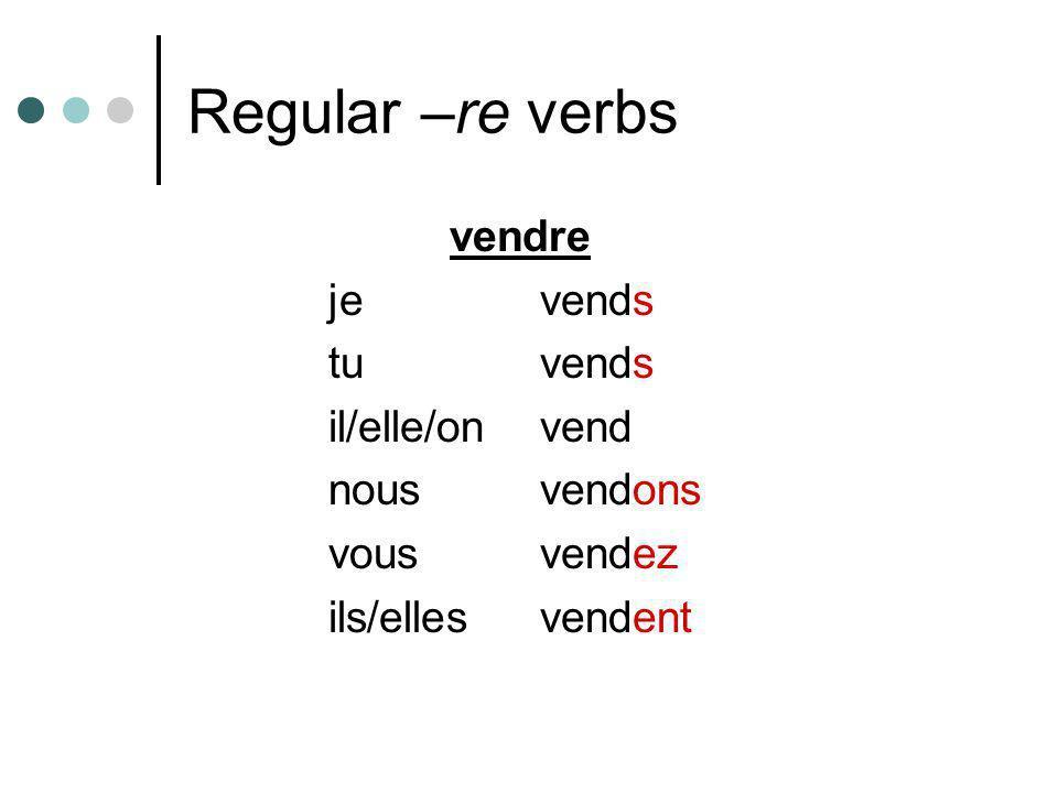 Regular –re verbs vendre jevends tuvends il/elle/onvend nousvendons vousvendez ils/ellesvendent