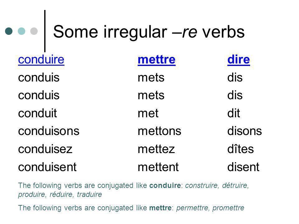 Some irregular –re verbs conduiremettredire conduismetsdis conduitmetdit conduisonsmettonsdisons conduisezmettezdîtes conduisentmettentdisent The foll