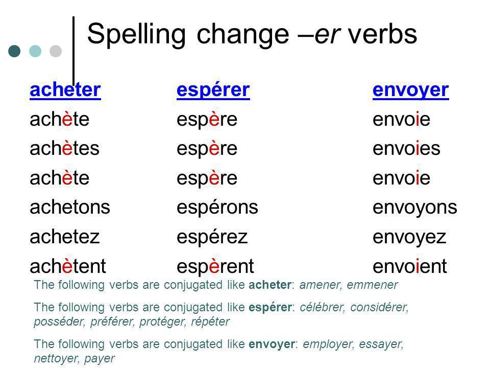 Spelling change –er verbs acheterespérerenvoyer achèteespèreenvoie achètesespèreenvoies achèteespèreenvoie achetonsespéronsenvoyons achetezespérezenvo