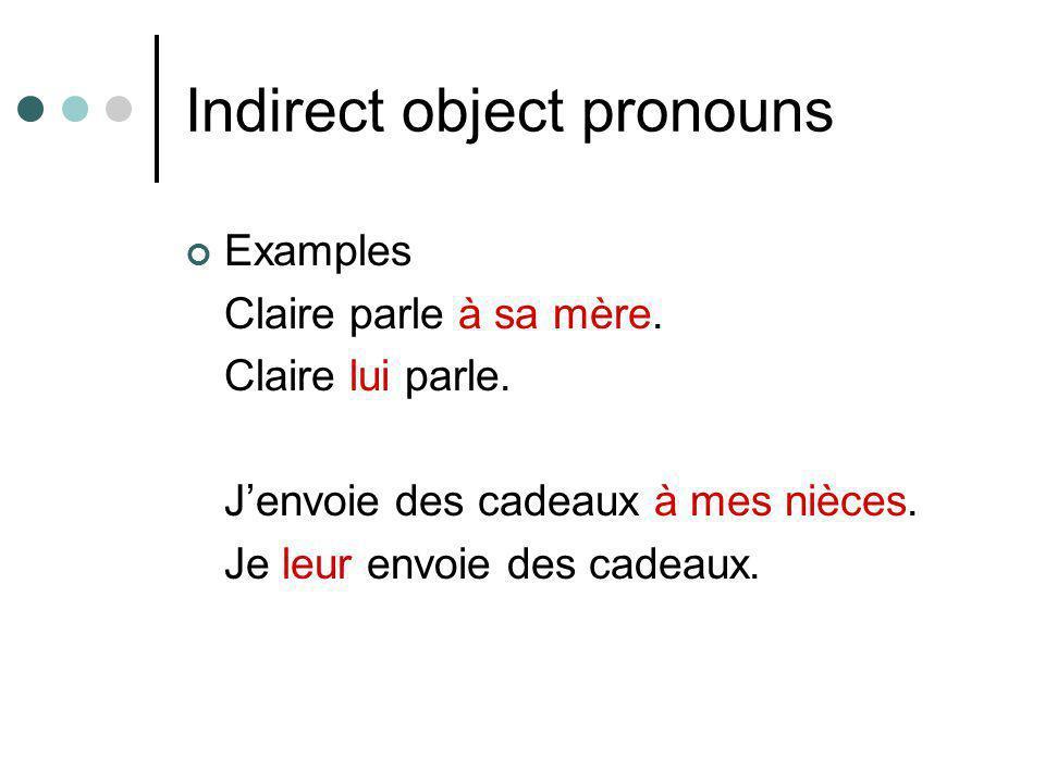 Indirect object pronouns Examples Claire parle à sa mère. Claire lui parle. J'envoie des cadeaux à mes nièces. Je leur envoie des cadeaux.