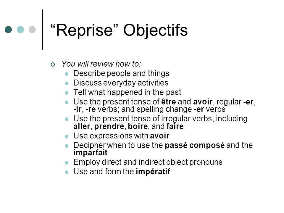 Regular –ir verbs finir jefinis tufinis il/elle/onfinit nousfinissons vousfinissez ils/ellesfinissent