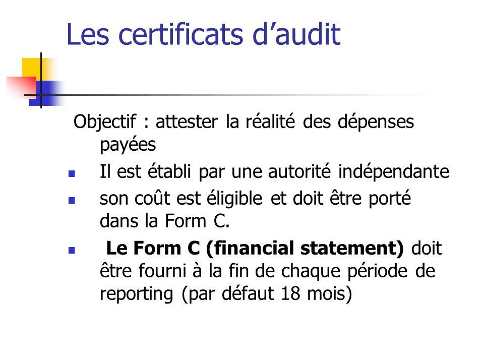 audit financier est obligatoire dans les cas suivants: – Quand la contribution requise du bénéficiaire atteint 375.000€.