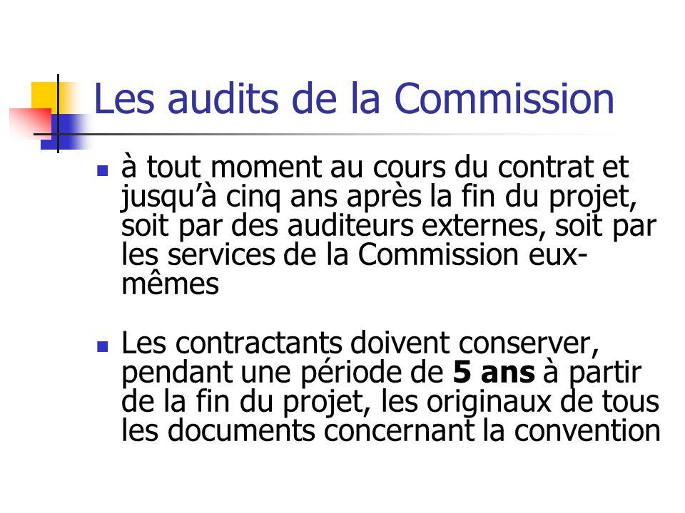 Conséquence : le montant de la contribution qui a été effectué sur la base d'un coût éligible qui ne peut être justifié lors de l'audit devra être remboursé à la Commission.