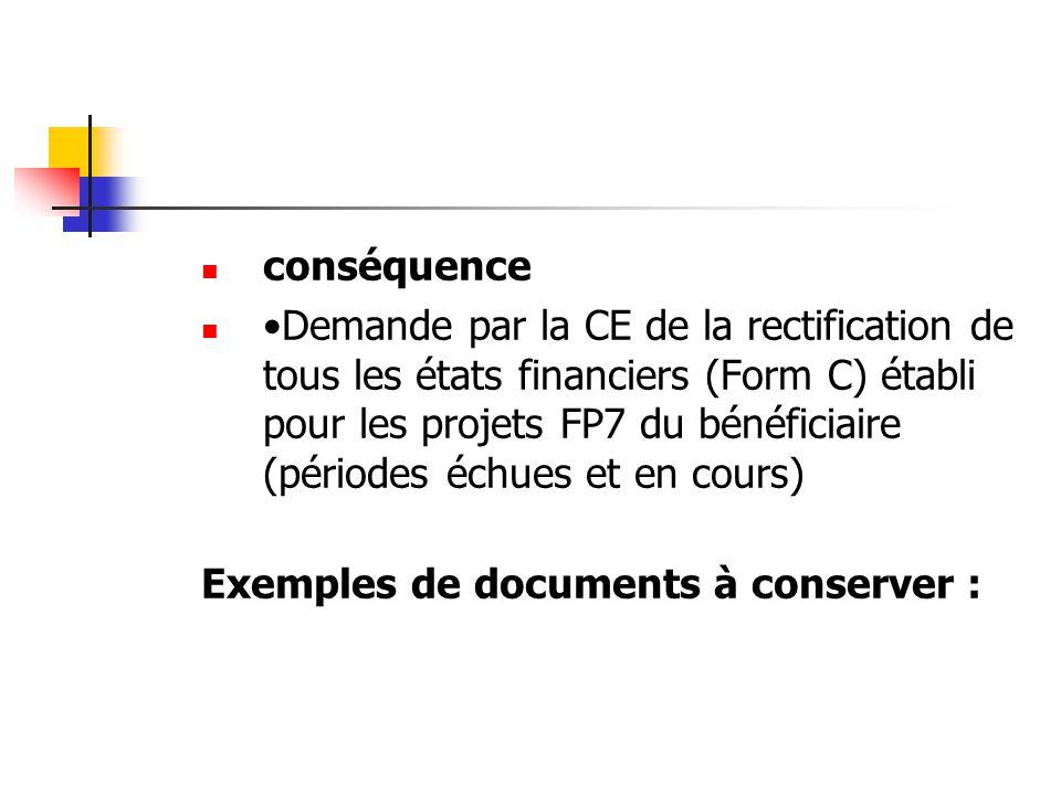 conséquence Demande par la CE de la rectification de tous les états financiers (Form C) établi pour les projets FP7 du bénéficiaire (périodes échues e