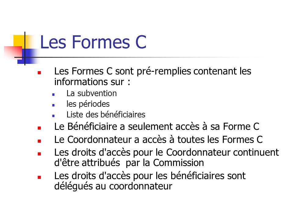 Le bénéficiaire a un droit d éditer/de voir sa propre Forme C Le coordonnateur a le droit de voir toutes les Formes C et peut recevoir le droit d éditer toutes les Formes C Le bénéficiaire peut soumettre sa propre Forme C au coordonnateur et ne peut pas soumettre directement à la Commission Le coordonnateur soumet sa propre Forme C à lui même soumet les Formes C à la Commission