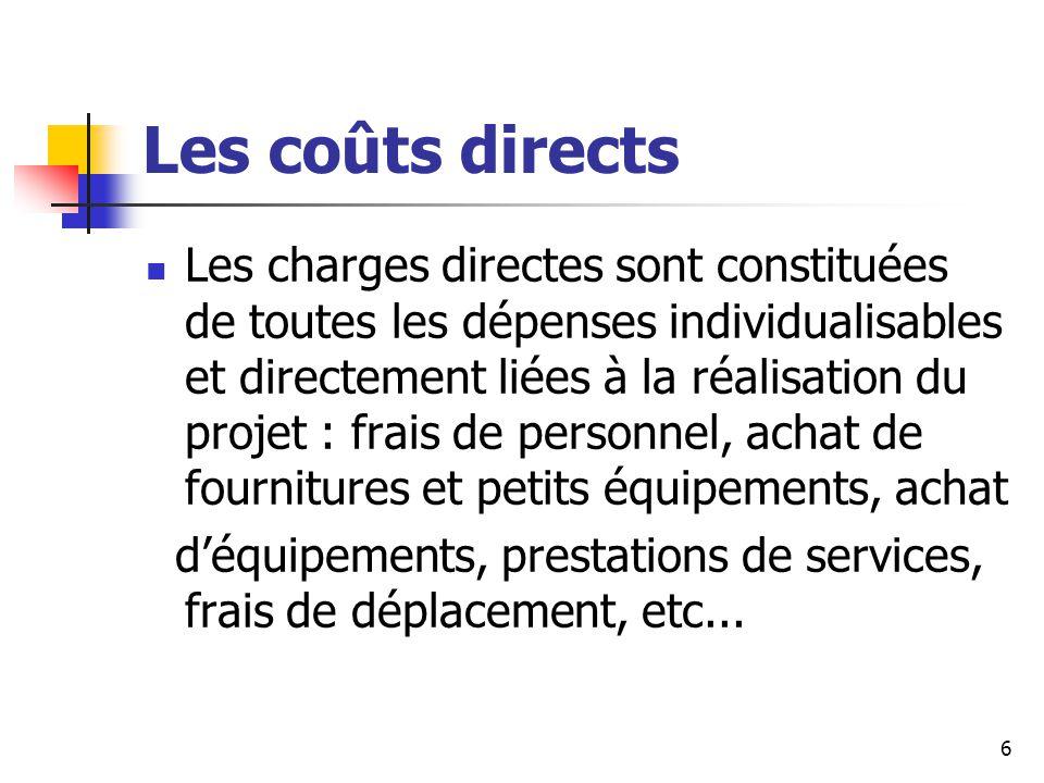 Les coûts indirects Les coûts indirects sont les coûts associés aux coûts directs mais liés aux frais engendrés par l'activité habituelle de l'unité : frais de locaux, dépenses d'eau et d'électricité, dépenses de fonctionnement général du participant, etc...