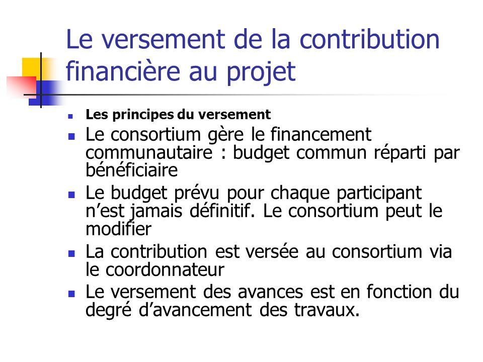 Les modalités de versement Système d'avances ajustées au fur et à mesure de l'approbation des rapports financiers et scientifiques périodiques : la première avance les avances suivantes le paiement final