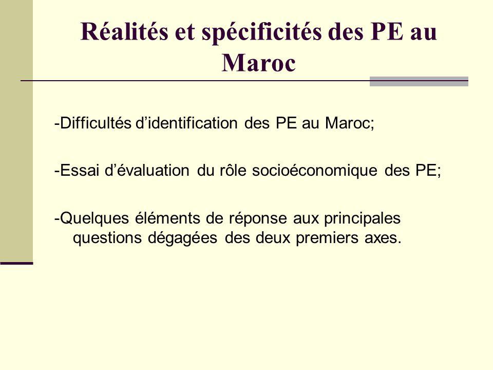 Réalités et spécificités des PE au Maroc -Difficultés d'identification des PE au Maroc; -Essai d'évaluation du rôle socioéconomique des PE; -Quelques éléments de réponse aux principales questions dégagées des deux premiers axes.