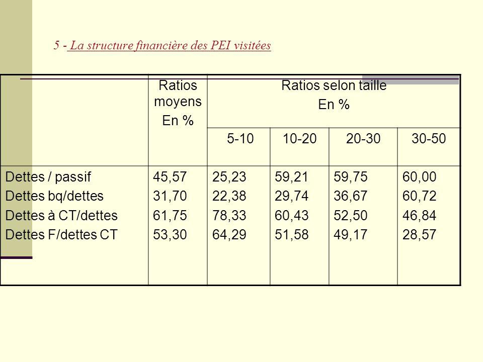 5 - La structure financière des PEI visitées Ratios moyens En % Ratios selon taille En % 5-1010-2020-3030-50 Dettes / passif Dettes bq/dettes Dettes à