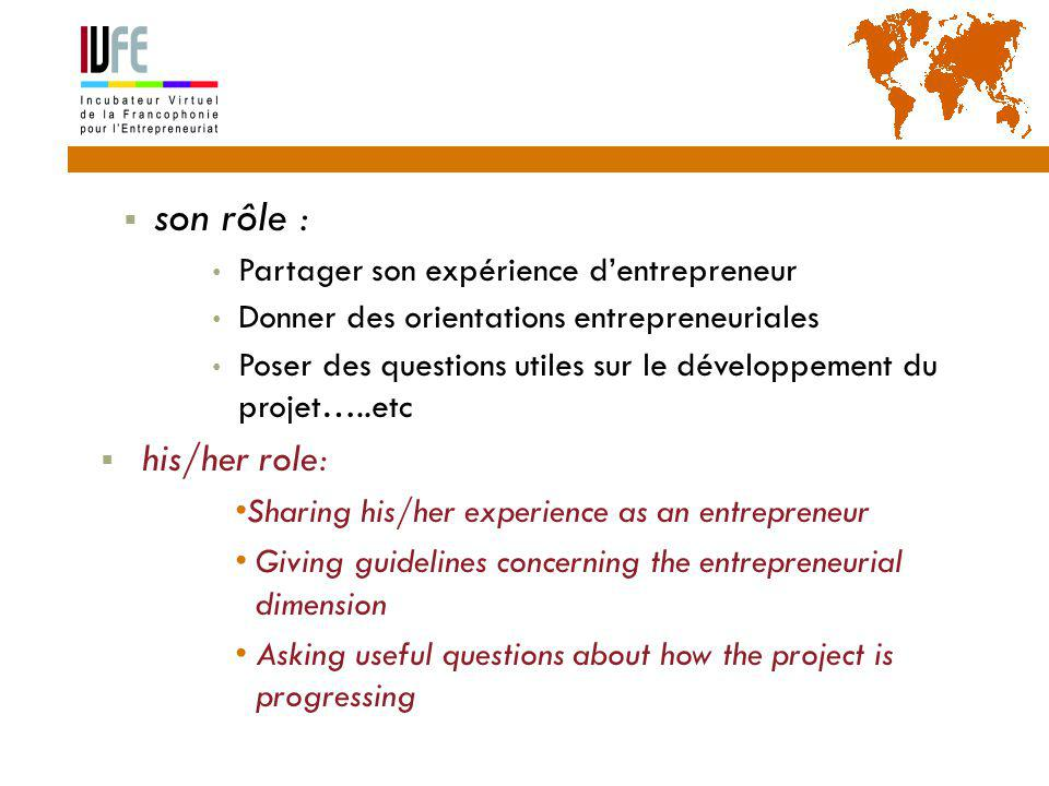  son rôle : Partager son expérience d'entrepreneur Donner des orientations entrepreneuriales Poser des questions utiles sur le développement du projet…..etc  his/her role: Sharing his/her experience as an entrepreneur Giving guidelines concerning the entrepreneurial dimension Asking useful questions about how the project is progressing Gérard Lemoine, IVFE (AUF), île Maurice 21