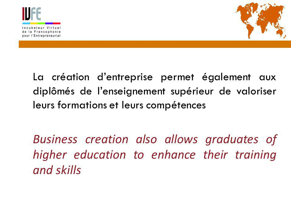 La création d'entreprise permet également aux diplômés de l'enseignement supérieur de valoriser leurs formations et leurs compétences  Business creation also allows graduates of higher education to enhance their training and skills Gérard Lemoine, IVFE (AUF), île Maurice 3