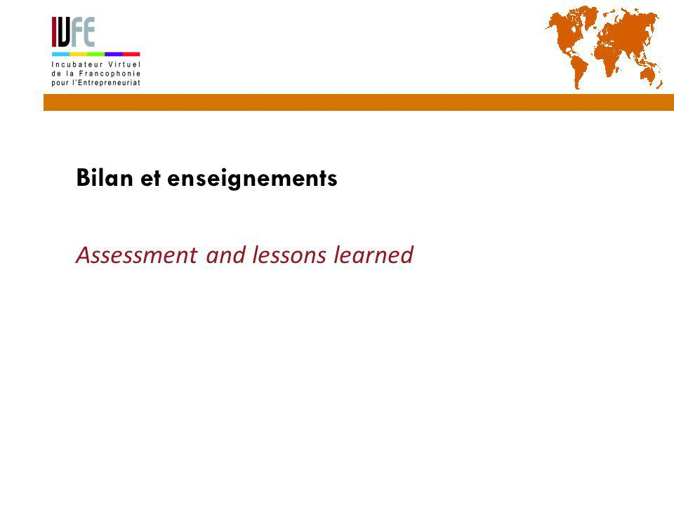  Bilan et enseignements  Assessment and lessons learned Gérard Lemoine, IVFE (AUF), île Maurice 31