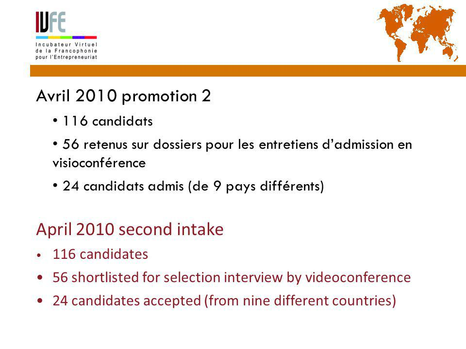 Avril 2010 promotion 2  116 candidats  56 retenus sur dossiers pour les entretiens d'admission en visioconférence  24 candidats admis (de 9 pays différents) April 2010 second intake 116 candidates 56 shortlisted for selection interview by videoconference 24 candidates accepted (from nine different countries) Gérard Lemoine, IVFE (AUF), île Maurice 33