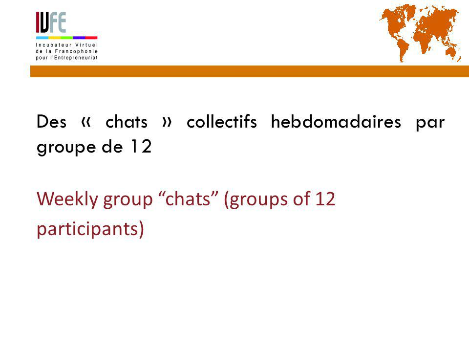 Des « chats » collectifs hebdomadaires par groupe de 12 Weekly group chats (groups of 12 participants) Gérard Lemoine, IVFE (AUF), île Maurice 39