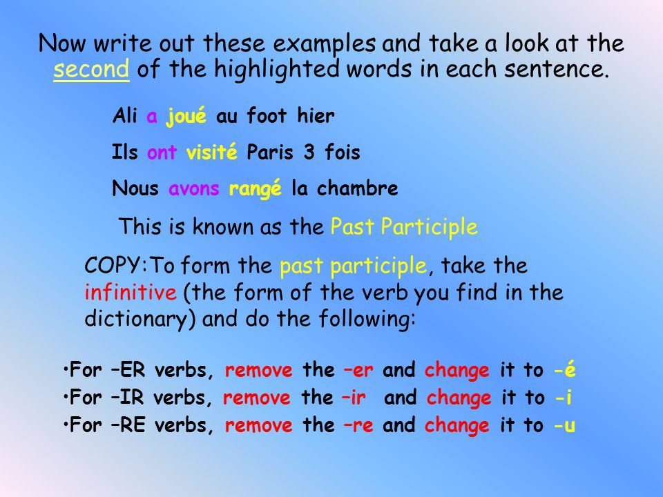 J'ai (I have) Nous avons (We have) Tu as (You have) Vous avez (You have) Il a (He has) Ils ont (They have) Elle a (She has) Elles ont (They have) The Present tense of Avoir If you have already got this written down, write some sentences which use 'avoir' e.g.