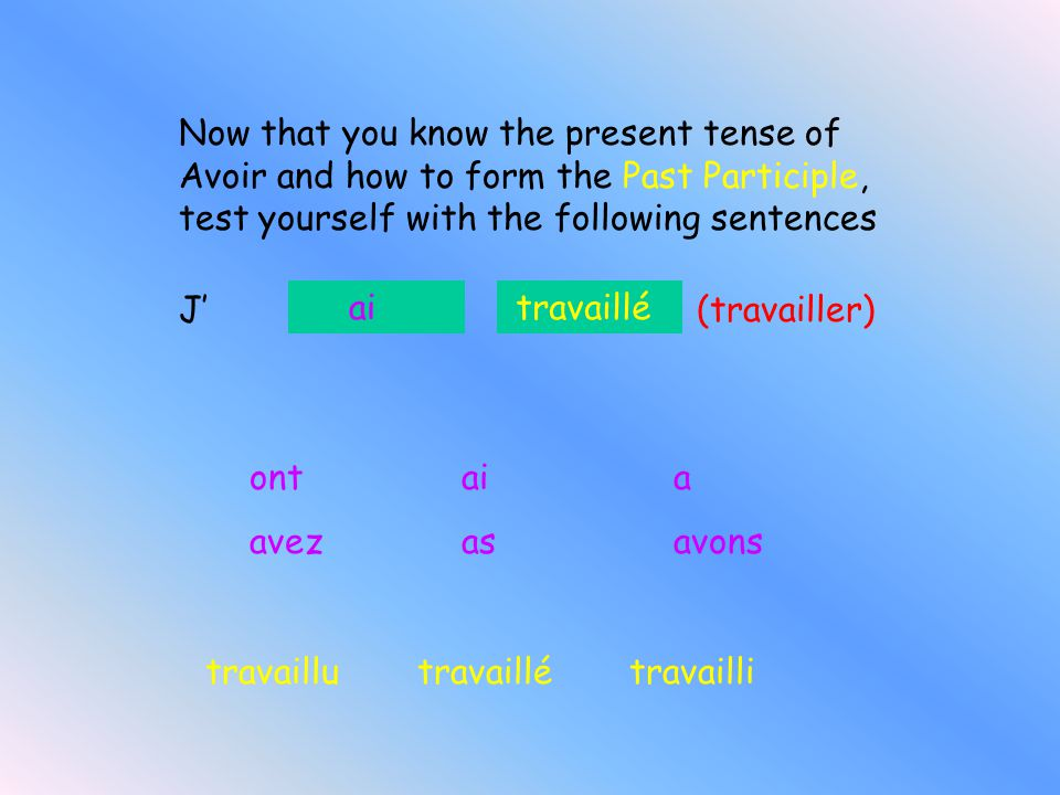 Eg Il a regardé Nousavons fini J'ai répondu Part of avoir Past participle So remember… The Passé Composé is made up of 2 parts. The first is part of t