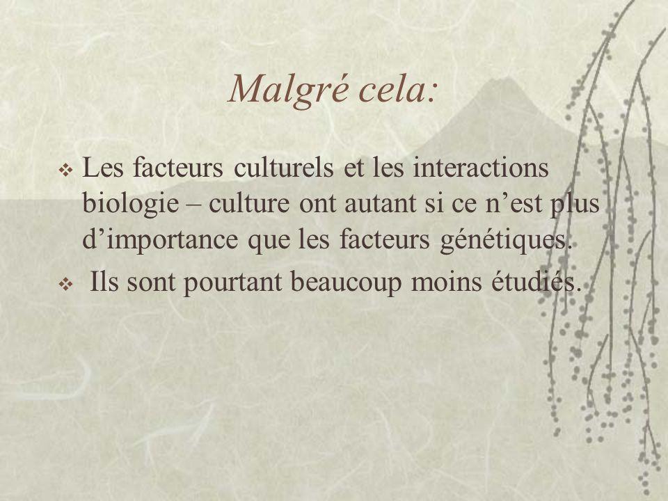 Les facteurs culturels sont mons étudiés que les aspects biologiques, illustration. A. Eytan, 2002
