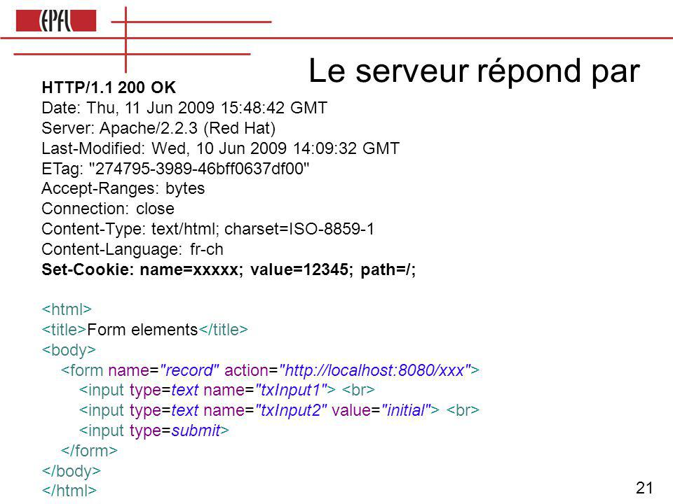 21 Le serveur répond par HTTP/1.1 200 OK Date: Thu, 11 Jun 2009 15:48:42 GMT Server: Apache/2.2.3 (Red Hat) Last-Modified: Wed, 10 Jun 2009 14:09:32 GMT ETag: 274795-3989-46bff0637df00 Accept-Ranges: bytes Connection: close Content-Type: text/html; charset=ISO-8859-1 Content-Language: fr-ch Set-Cookie: name=xxxxx; value=12345; path=/; Form elements