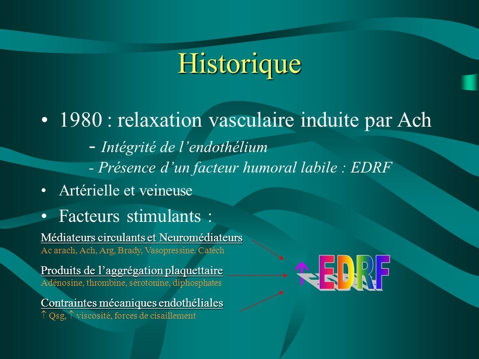 Historique 1980 : relaxation vasculaire induite par Ach - Intégrité de l'endothélium - Présence d'un facteur humoral labile : EDRF Artérielle et veine