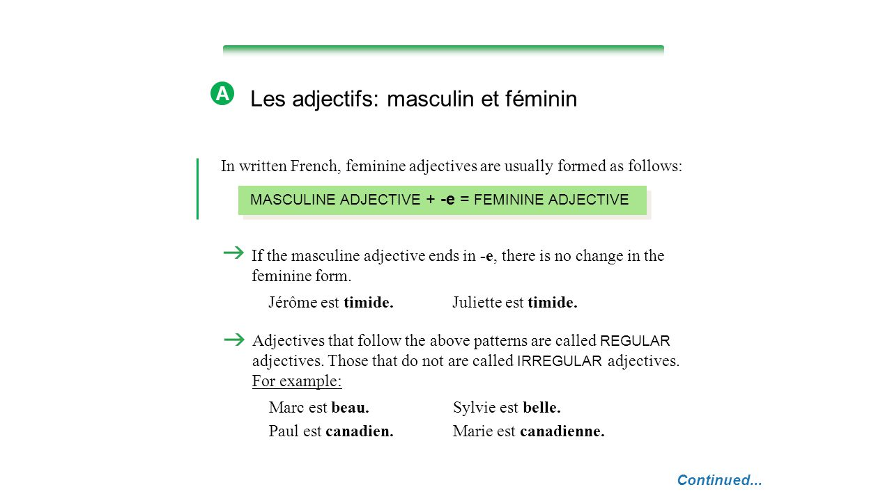 NOTE French dictionaries list adjectives by their masculine forms.