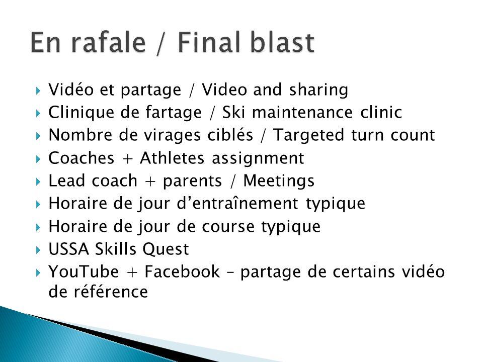  Vidéo et partage / Video and sharing  Clinique de fartage / Ski maintenance clinic  Nombre de virages ciblés / Targeted turn count  Coaches + Ath