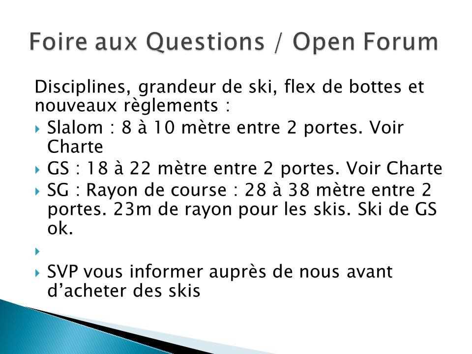 Disciplines, grandeur de ski, flex de bottes et nouveaux règlements :  Slalom : 8 à 10 mètre entre 2 portes. Voir Charte  GS : 18 à 22 mètre entre 2