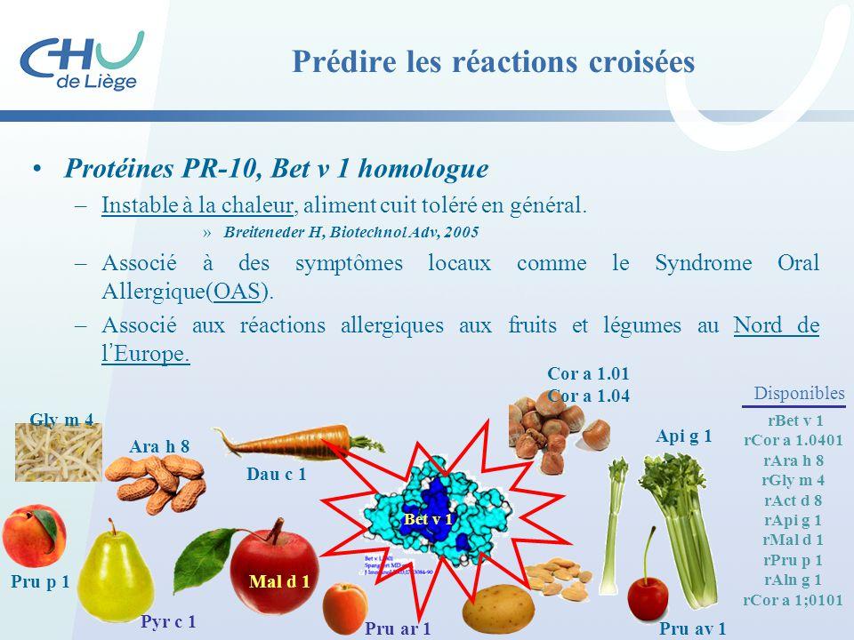 Prédire les réactions croisées Protéines PR-10, Bet v 1 homologue –Instable à la chaleur, aliment cuit toléré en général. »Breiteneder H, Biotechnol A