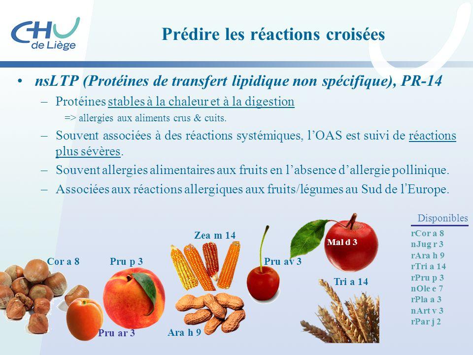 Prédire les réactions croisées nsLTP (Protéines de transfert lipidique non spécifique), PR-14 –Protéines stables à la chaleur et à la digestion => all