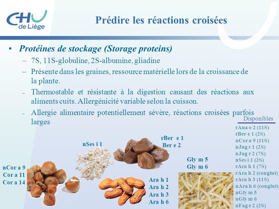 Prédire les réactions croisées Protéines de stockage (Storage proteins) –7S, 11S-globuline, 2S-albumine, gliadine –Présente dans les graines, ressourc