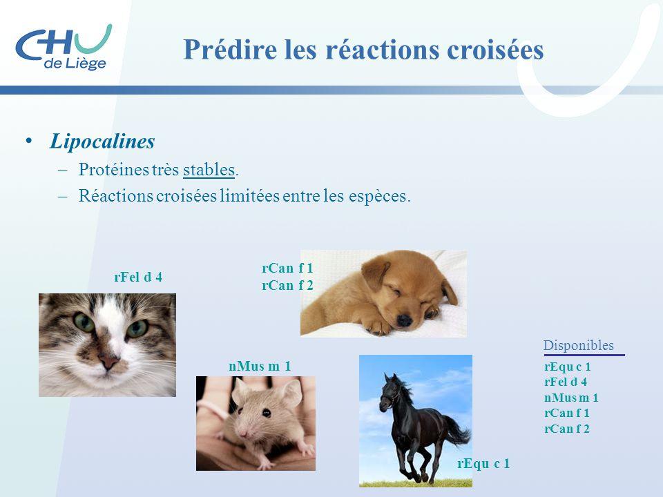 Lipocalines –Protéines très stables. –Réactions croisées limitées entre les espèces. rFel d 4 nMus m 1 rCan f 1 rCan f 2 Prédire les réactions croisée
