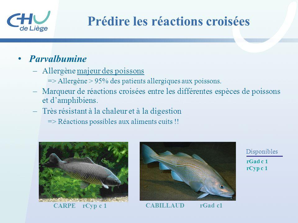 Parvalbumine –Allergène majeur des poissons => Allergène > 95% des patients allergiques aux poissons. –Marqueur de réactions croisées entre les différ