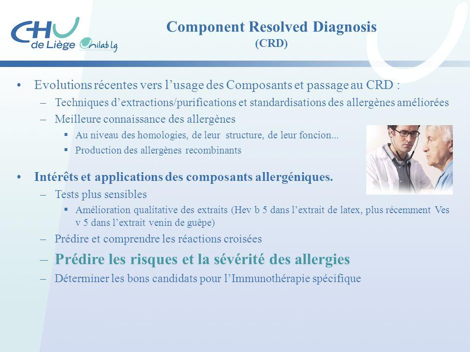 Component Resolved Diagnosis (CRD) Evolutions récentes vers l'usage des Composants et passage au CRD : –Techniques d'extractions/purifications et stan