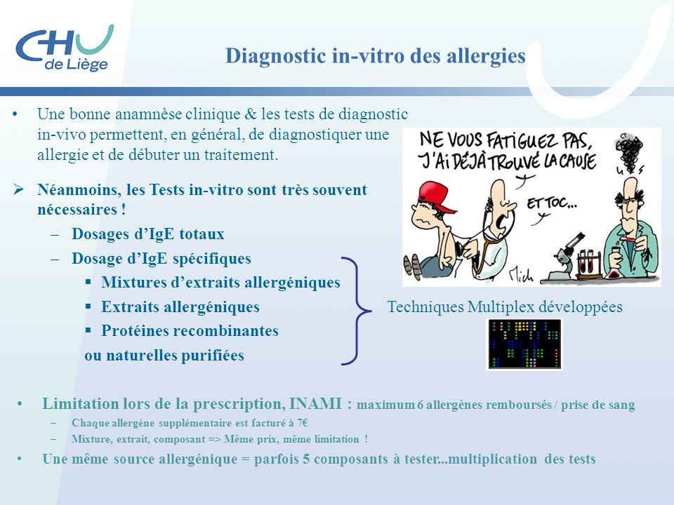 Diagnostic in-vitro des allergies Une bonne anamnèse clinique & les tests de diagnostic in-vivo permettent, en général, de diagnostiquer une allergie