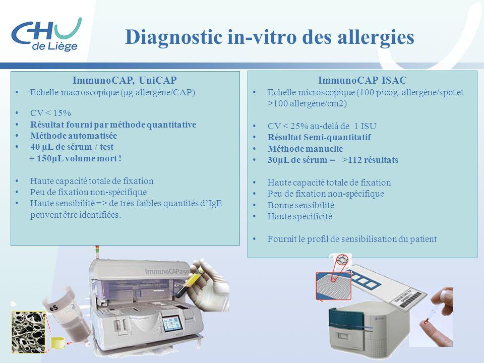 ImmunoCAP, UniCAP Echelle macroscopique (μg allergène/CAP) CV < 15% Résultat fourni par méthode quantitative Méthode automatisée 40 μL de sérum / test