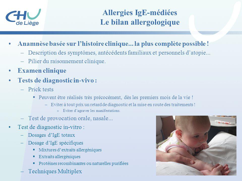 Allergies IgE-médiées Le bilan allergologique Anamnèse basée sur l'histoire clinique... la plus complète possible ! –Description des symptômes, antécé