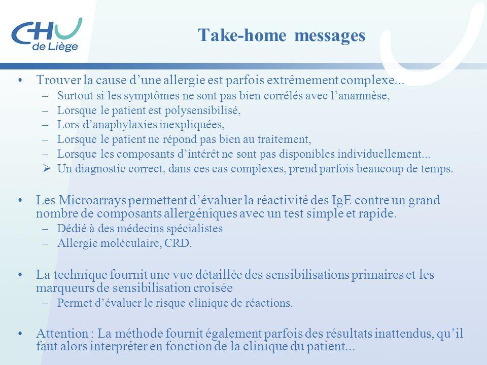 Take-home messages Trouver la cause d'une allergie est parfois extrêmement complexe... –Surtout si les symptômes ne sont pas bien corrélés avec l'anam