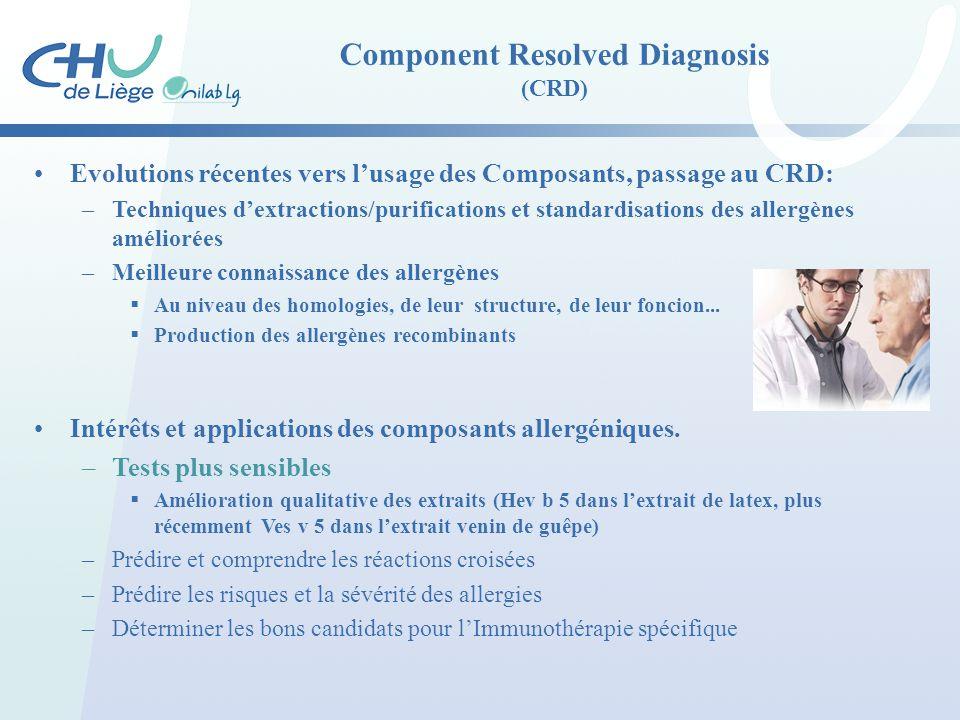 Component Resolved Diagnosis (CRD) Evolutions récentes vers l'usage des Composants, passage au CRD: –Techniques d'extractions/purifications et standar