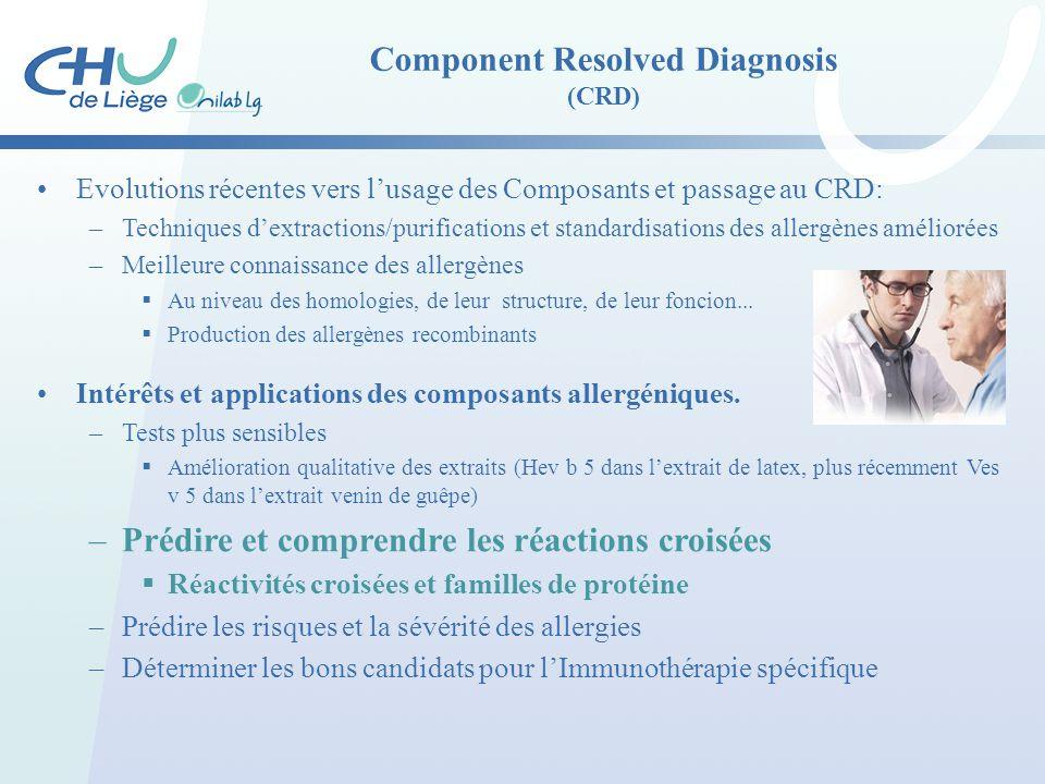 Component Resolved Diagnosis (CRD) Evolutions récentes vers l'usage des Composants et passage au CRD: –Techniques d'extractions/purifications et stand