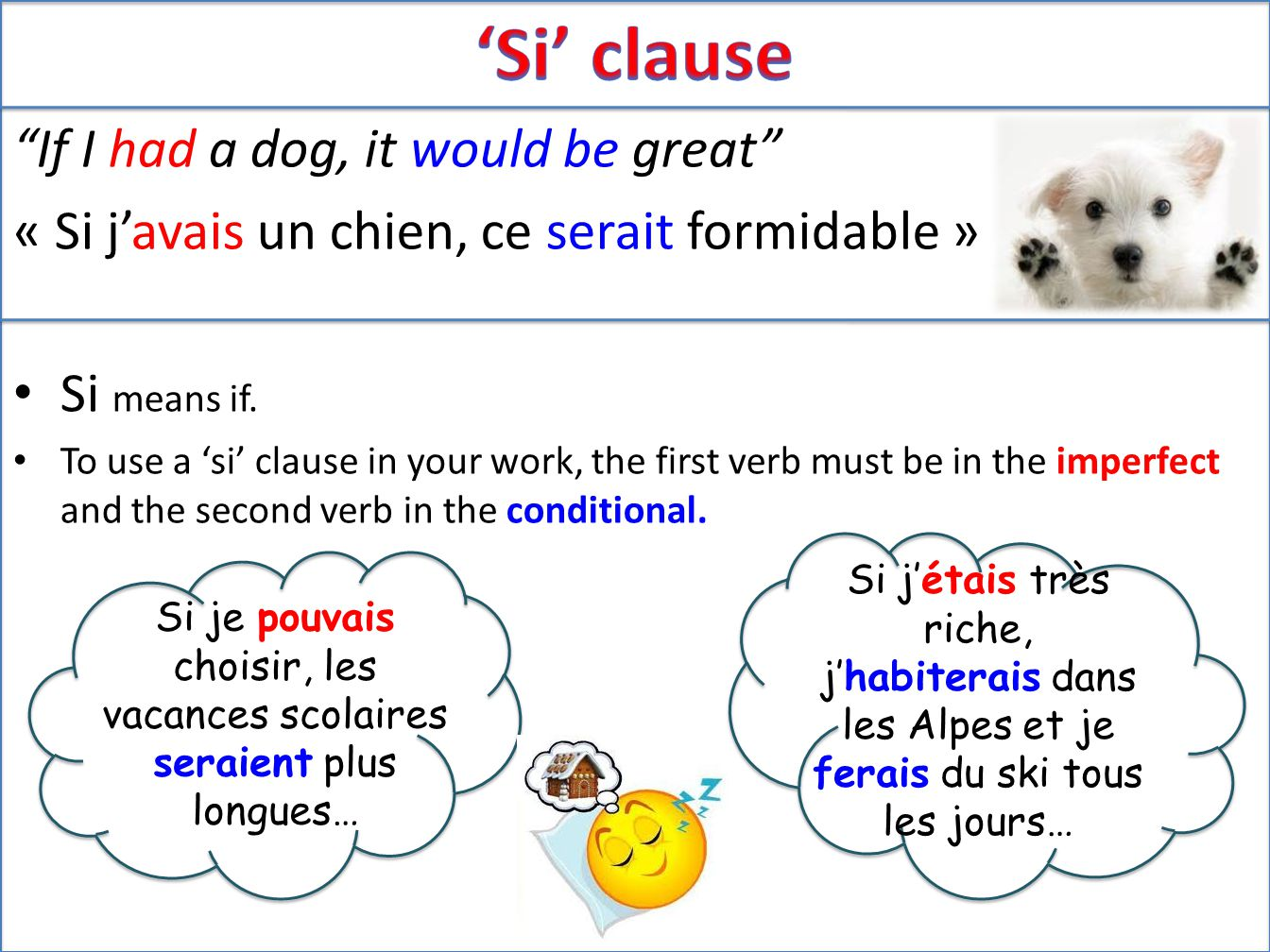 If I had a dog, it would be great « Si j'avais un chien, ce serait formidable » Si means if.