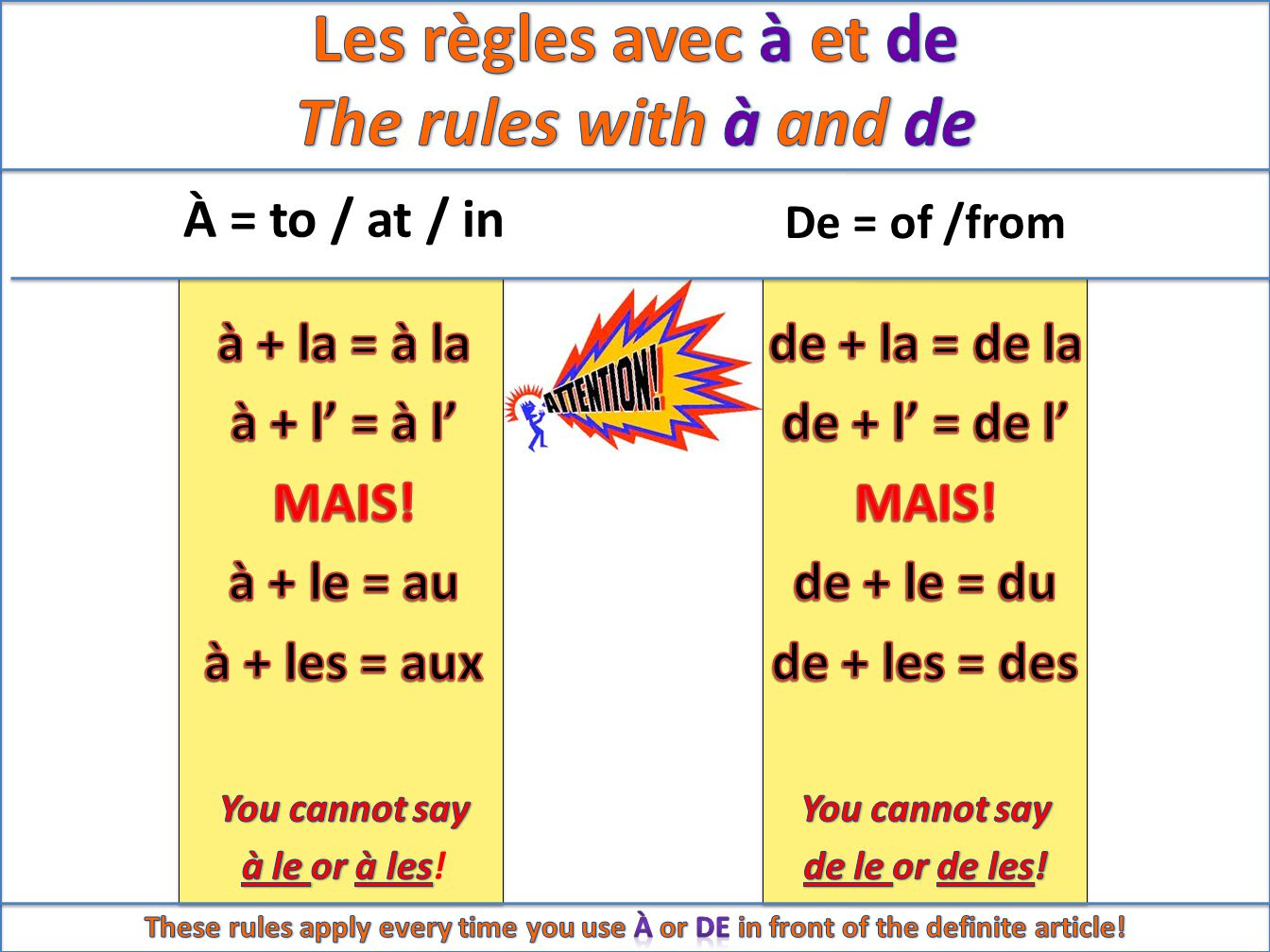 À = to / at / in De = of /from