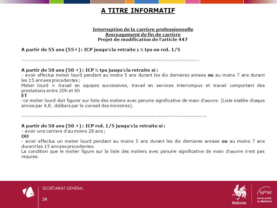 24 A TITRE INFORMATIF Interruption de la carri è re professionnelle Am é nagement de fin de carri è re Projet de modification de l ' article 447 A par