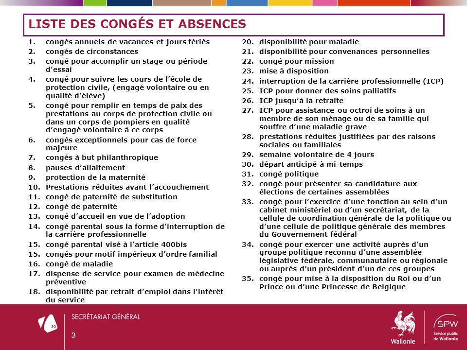TOUT LE PERSONNEL PEUT-IL BÉNÉFICIER DE CES CONGÉS.