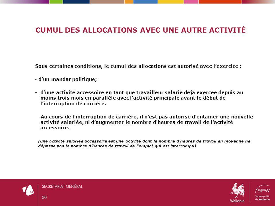 CUMUL DES ALLOCATIONS AVEC UNE AUTRE ACTIVITÉ Sous certaines conditions, le cumul des allocations est autorisé avec l'exercice : - d'un mandat politiq
