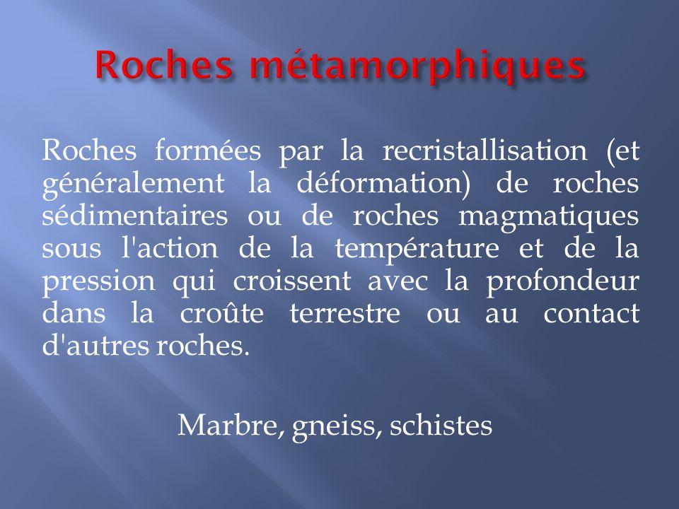 Roches formées par la recristallisation (et généralement la déformation) de roches sédimentaires ou de roches magmatiques sous l'action de la températ