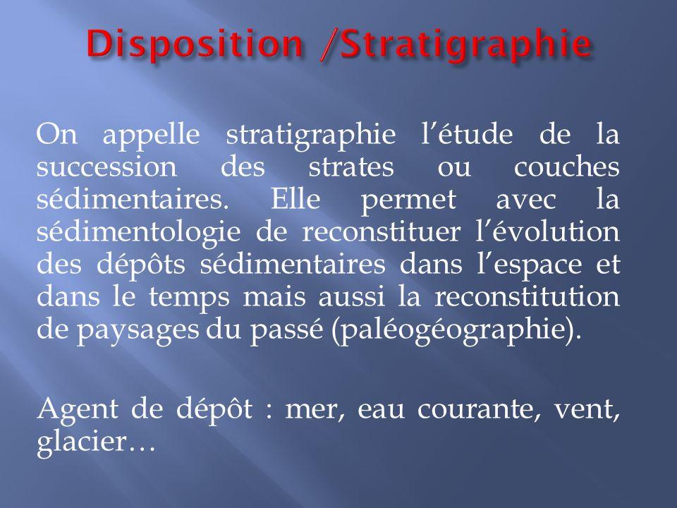 On appelle stratigraphie l'étude de la succession des strates ou couches sédimentaires. Elle permet avec la sédimentologie de reconstituer l'évolution