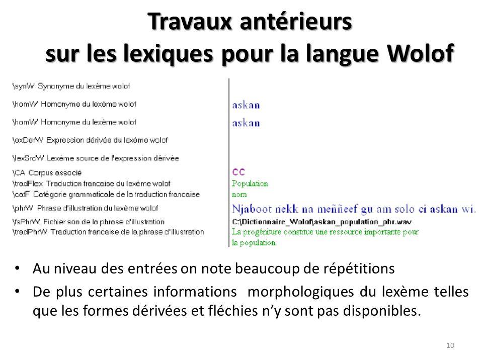 Travaux antérieurs sur les lexiques pour la langue Wolof Au niveau des entrées on note beaucoup de répétitions De plus certaines informations morphologiques du lexème telles que les formes dérivées et fléchies n'y sont pas disponibles.