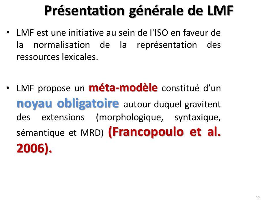 Présentation générale de LMF 12 LMF est une initiative au sein de l ISO en faveur de la normalisation de la représentation des ressources lexicales.