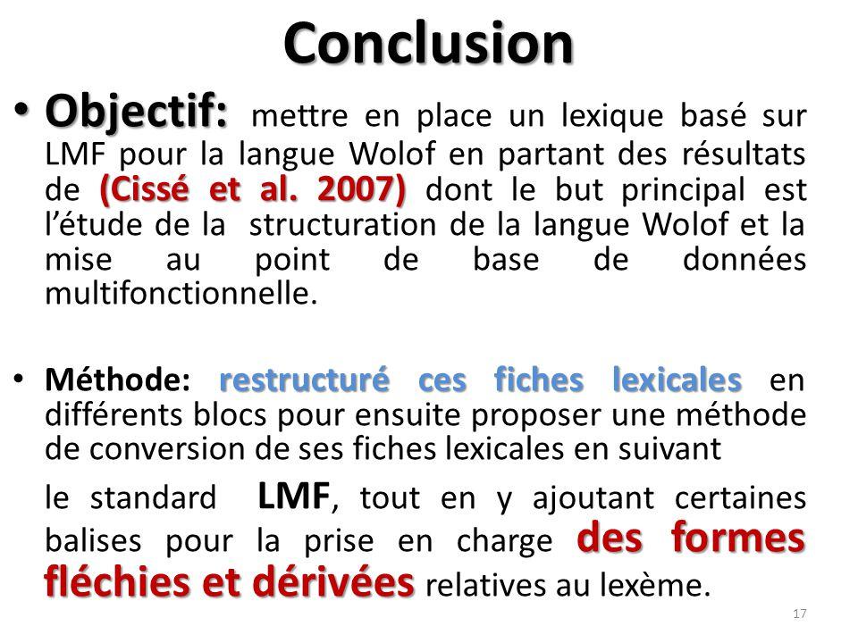 Conclusion Objectif: (Cissé et al.